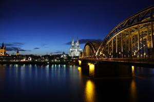 Hintergrundbilder Köln Deutschland Brücke Fluss Morgendämmerung und Sonnenuntergang Kathedrale Nacht Rhine Städte
