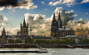 Hintergrundbilder Köln Deutschland Flusse Binnenschiff Rhine, Cologne cathedral Städte