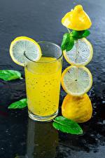 Fotos Getränk Zitronen Limonade Trinkglas