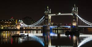 Bilder England Fluss Brücke London Nacht Tower bridge, Thames Städte