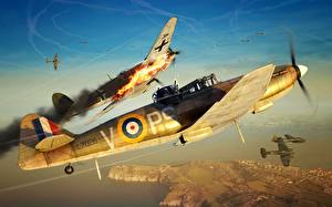 Fotos Flugzeuge Jagdflugzeug Bomber Britisches Heinkel 111, Boulton Paul Defiant Mk.I, Defiant Mk.I