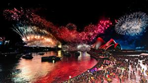 Wallpapers Fireworks Australia Night Waterfront Sydney Opera House Cities