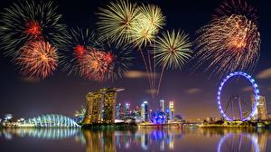 Picture Fireworks Singapore Night time Cities