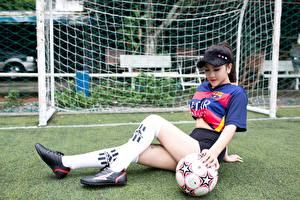Fotos Fußball Asiaten Uniform Ball Rasen Bein Long Socken
