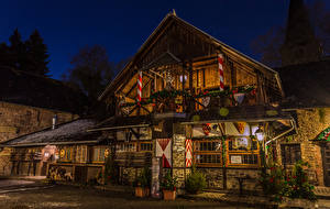 Wallpaper Germany Christmas Building Christmas tree Design Street lights Night time Burg Satzvey Mechernich Cities