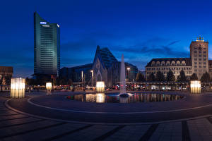 Picture Germany Building Fountains Evening Town square Street lights Leipzig