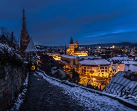 Fotos Deutschland Winter Gebäude Abend Nacht Esslingen