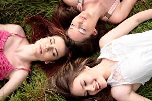 Image Grass Three 3 Lying down Smile Brown haired Sleep Beautiful Girls