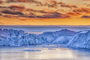 Fotos Grönland Himmel Eisberg Bucht Felsen Wolke