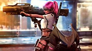 Bilder Feuerwaffe Gewehr Cyberpunk Mädchens