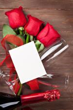 Hintergrundbilder Feiertage Rose Bretter Vorlage Grußkarte Blatt Papier Rot Weinglas Blüte