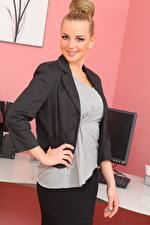Wallpapers Holly Eriksson Secretaries Blonde girl Staring Smile Hands young woman