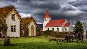 Fotos Gebäude Kirchengebäude Island Gewitterwolke  Natur