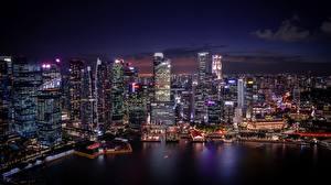 Bilder Gebäude Wolkenkratzer Singapur Nacht