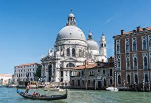 Bilder Italien Kirchengebäude Boot Venedig Kanal Santa Maria della Salute Städte