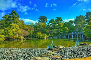 Hintergrundbilder Japan Parks Teich Brücke Stein HDRI Bäume Kyoto Imperial Palace