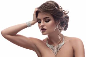 Pictures Jewelry White background Hands Makeup Hairstyles Brown haired Beautiful Modelling young woman