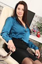 Picture Kay Only Secretaries Armchair Brunette girl Sit Glance Hands Girls