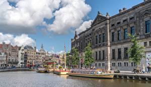 Hintergrundbilder Bootssteg Binnenschiff Amsterdam Niederlande Kanal