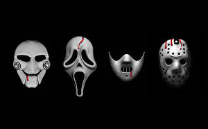Bilder Masken Scream – Schrei! Freitag der 13. (2009) Saw Schwarzer Hintergrund Silence of the Lambs, Jason's mask Film