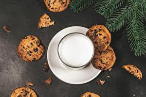 Fotos Milch Kekse Trinkglas Lebensmittel