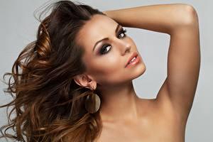Hintergrundbilder Model Schminke Gesicht Starren Braune Haare Haar Schöne
