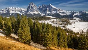 Hintergrundbilder Gebirge Italien Landschaftsfotografie Schnee Bäume Alpen South Tyrol, Dolomites, Langkofel