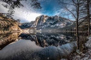 Hintergrundbilder Berg See Österreich Landschaftsfotografie Bäume Spiegelung Spiegelbild Altaussee, Styria Natur