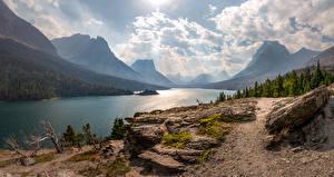 Fotos Gebirge See Vereinigte Staaten Landschaftsfotografie Bäume Wolke Saint Mary Lake Natur