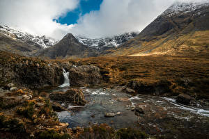Fotos Berg Stein Fluss Schottland Wolke Fairy Pools