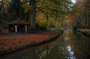 Hintergrundbilder Niederlande Parks Herbst Kanal Bäume Blatt Tuindorp