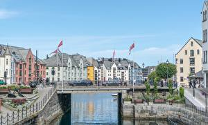 Picture Norway Bridge Canal Flag Alesund Cities