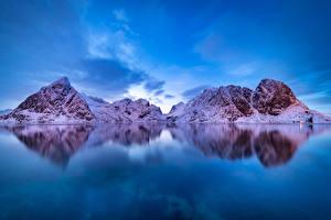 Hintergrundbilder Norwegen Lofoten Berg Winter Bucht Schnee