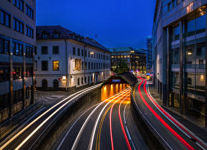 Pictures Norway Oslo Building Roads Night time Street Tunnel Moving Cities