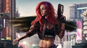 Bilder Pistole Rotschopf Jacke Cyberpunk Mädchens