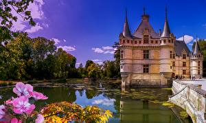Hintergrundbilder Teich Burg Himmel Frankreich