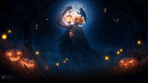 Hintergrundbilder Kürbisse Halloween Laterne Vogelscheuche Cleo Naturin Fantasy