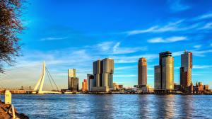 Fotos Rotterdam Niederlande Wolkenkratzer Brücke Fluss Himmel Nieuwe Maas river