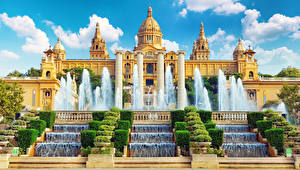 Bakgrunnsbilder Spania Fontener Barcelona Museum National Museum of art of Catalonia Byer