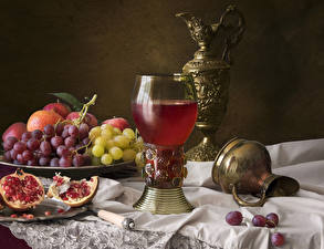 Picture Still-life Grapes Pomegranate Juice Jugs Stemware Food