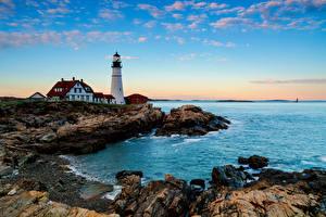 Bilder Stein Küste Leuchtturm Vereinigte Staaten Felsen Cumberland County Natur