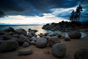 Bilder Stein See USA Wolke Sierra Nevada, Lake Tahoe Natur