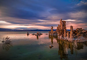 Bilder Morgendämmerung und Sonnenuntergang See USA Kalifornien Mono Lake Natur