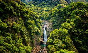 Hintergrundbilder Taiwan Wasserfall Felsen Natur