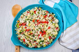 Fotos Die zweite Gerichten Reis Gemüse Teller das Essen