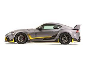 デスクトップの壁紙、、トヨタ自動車、側面図、白背景、灰色、Concept 3000GT 2019 GR Supra A90 SEMA 2019、自動車