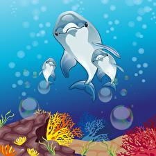 Wallpaper Underwater world Dolphins Vector Graphics