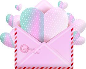 Bilder Valentinstag Weißer hintergrund Herz Brief