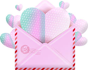 Pictures Valentine's Day White background Heart Letter message Envelope