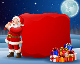 Pictures Vector Graphics New year Santa Claus Gifts Uniform Moon